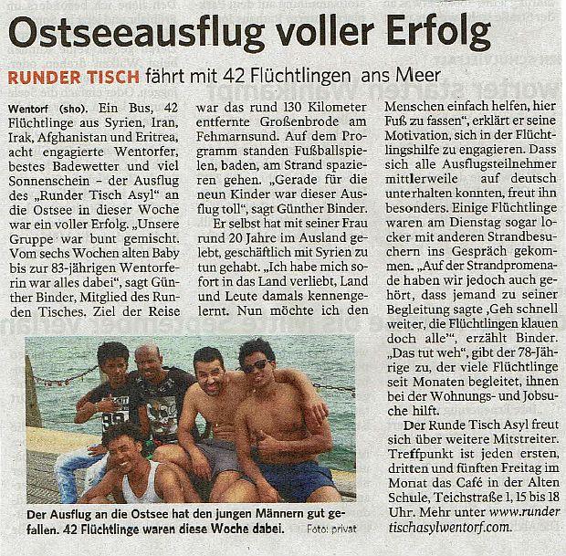 Ostseefahrt (Bergedorfer Zeitung, 12.08.2017)